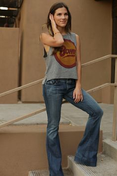 Vintage Inspired Bowie Tank & Flare Jeans. Click through to purchase.