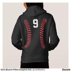 Girls Black & White Fastpitch Softball Sweatshirt #softball #sweatshirt #softballsweatshirt #softballhoodie #fastpitch #softballclothes