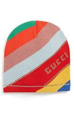 GUCCI Designer Crystal Logo Stripe Wool Beanie  a6220bc432ba