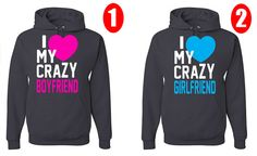 I Love My Crazy Boyfriend  Girlfriend Two Hoodies Perfect Couple on Etsy, $49.99