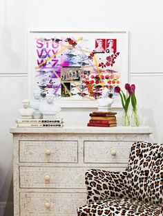 Loving Fenton & Fenton homewears and styling by Julia Green for this shot. The artwork by Pia Blair and leopard print chair make this image pop! Leopard Print Chair, Interior Styling, Interior Decorating, Interiors Magazine, Custom Website Design, The Design Files, Eclectic Style, Interior Design Inspiration, House Colors