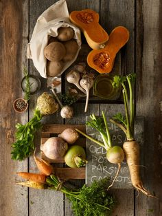 Celery root, carrots, potatoes, turnips...roast and eat!