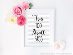 Items similar to This Too Shall Pass Typography Art Print Poster Printable Grey And White Stripes Textured Background Inspirational Quote on Etsy Striped Background, Textured Background, Pastel Colors, Colours, This Too Shall Pass, Typography Art, Letter Art, Print Poster