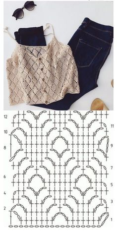 Débardeurs Au Crochet, Pull Crochet, Mode Crochet, Crochet Shirt, Crochet Crop Top, Crochet Diagram, Crochet Poncho, Crochet Stitches, Knitting Patterns