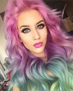 Psycho Girl, Dark Eyebrows, Goth Beauty, Collor, Bright Hair, Modern Hairstyles, Fantasy Makeup, Rainbow Hair, Hair Goals