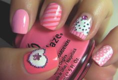 cupcake and random pink fingernail designs