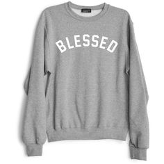 Private Party Blessed Sweatshirt (£53) ❤ liked on Polyvore featuring tops, hoodies, sweatshirts, shirts, sweaters, jumpers, light grey, long sleeve sweatshirt, shirts & tops and going out tops