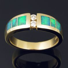 Australian Opal Inlay Ring in 14k Gold & Diamonds