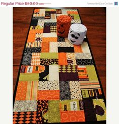 SALE QUILTED TABLE Runner Halloween Moda Monster by Jambearies