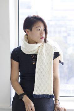 MillaMia Love Scarf (Ivory/Denim edition) knitting project by Cynthia F