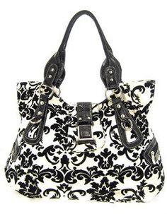 Large Roomy Velvet Coated Damask Print Shoulder Bag Purse Black White Scarlettsbags Cute Handbags