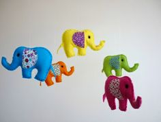 Rainbow Baby Elephants - Felt Nursery Mobile with music button