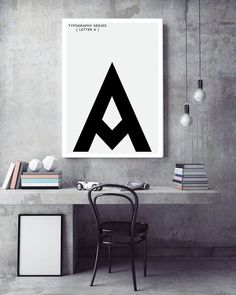 Items similar to A Letter Print Modern Typography Art - Scandinavian / Nordic Interior Design, Letter Symbol Art - Minimalist Black and White Poster on Etsy Nordic Interior Design, Interior Design Website, Bathroom Interior Design, 2017 Typography, Modern Typography, Letter Symbols, Black And White Posters, Artwork Display, Wall Art Designs