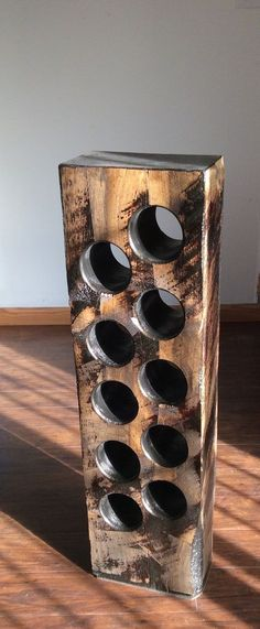 Reclaimed wooden wine rack Hand Sawn Timber Wine Bottle holder Floor standing wine rack in Solid wood Solid Wood Wine Rack Holds 10 bottles