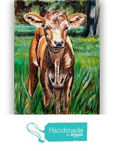 Baby Cow Art Print from Texas Longhorn Painting for your Rustic Farmhouse Decor, size/ matted option from Heather Sims Art