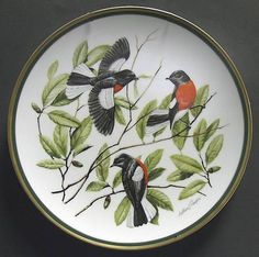 Franklin Mint Woodland Birds Of The World: Painted Redstart - Artist: Arthur Singer
