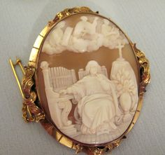 SOLD  #Antique Carved #Cameo #Brooch St Cecilia Patron Saint     of Music| eBay
