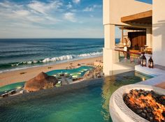 Would you visit the beach or the pool first at the Capella Pedregal in Cabo San Lucas, Mexico