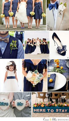 Navy wedding theme inspiration - the yellow a bit more muted here