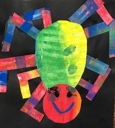 "grade Eric Carle Spiders Don't you just love Eric Carle? This art lesson was based on his book ""The Very Busy Spider"". The Very Busy Spider, Spider Drawing, Kindergarten Drawing, Art Lessons Elementary, Eric Carle, Egg Shape, Painted Paper, Black Paper, Drawing For Kids"