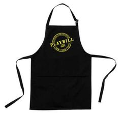 Our Playbill Apron is a black cotton chef's apron with two pockets, an easily adjustable bib and extra long ties. It makes a great gift for theatre fans, especially those who enjoy cooking. Extra Long Ties, Chef Apron, Black Cotton, Great Gifts, How To Make, Theatre, Broadway, Fans, Pockets