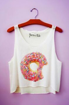 Donuts Crop Tank Top from Yotta Kilo. Shop more products from Yotta Kilo on Wanelo. Cute Casual Outfits, Outfits For Teens, Summer Outfits, Half Shirts, Cute Shirts, Cropped Tank Top, Crop Tank, Teen Fashion, Fashion Outfits