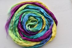 Mulberry Silk Roving Top Hand Dyed for spinning fibre felting needle felting nuno fibre arts paper making 20 grams Rainbow 12325 Nuno Felting, Needle Felting, Vibrant Colors, Colours, Mulberry Silk, Fiber Art, Spinning, The Incredibles, Rainbow