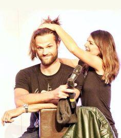 Gen doing Jared's hair into a man bun.