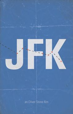 """Sweet promotional poster for the movie """"JFK"""" with the 'magic bullet' theory mapped on it."""