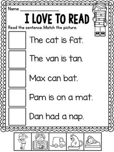 Fun with these worksheets short a worksheets, reading practice, literacy st Phonics Reading, Teaching Reading, Reading Comprehension, Learning, Comprehension Activities, Kindergarten Worksheets, In Kindergarten, Phonics Worksheets, 1st Grade Writing Worksheets