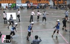 Juke-spinning, a popular WFTDA champs pastime. Also proof that even at the highest level, swinging yourself butt-first at the line doesn't result in a jammer takedown. There are better ways. Roller Derby Drills, Roller Skating, Disney Pictures, Columns, Champs, Fitness Tips, Workout, Fun, Disney Images