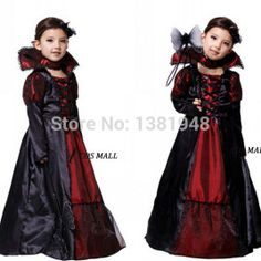 New Kids Halloween Outfit Childrens Witch Girl Costume Vampire Zombie Masquerade Party Queen Cosplay Uniform Free Shipping $21.99