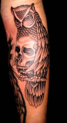 owl tattoos best of the best | Tattoos - Skull tattoos - Owl and Skull Tattoo