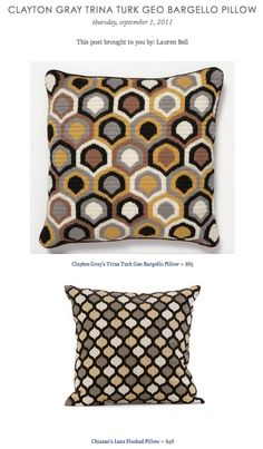 COPY CAT CHIC FIND: Clayton Gray's Trina Turk Geo Bargello Pillow VS Chiasso's Luxe Flocked Pillow