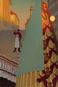 "Russian painter Andrey Remnev pulls from both centuries-old approaches and current, graphical influences. Yet, the artist says, the material he uses are decidedly classical in nature: ""As painters … Russian Painting, Russian Art, Magic Realism, Surreal Art, Contemporary Paintings, Oeuvre D'art, Art Inspo, Art History, Modern Art"