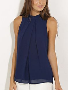 Women's+Going+out+Simple+/+Street+chic+Blouse,Solid+Halter+Sleeveless+Blue+Polyester+Thin+–+USD+$+7.99