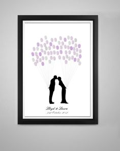 For those not wanting a Fingerprint Tree but still like the idea this design could be the one for you A romantic kissing couple perfect for wedding