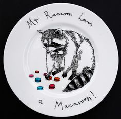 Hand Painted Side Plate - Mr Raccoon loves a Macaroon. $35.50, via Etsy.