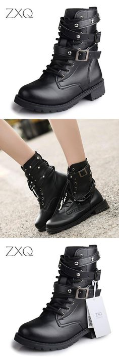 323aec46b89  Visit to Buy  Hot Sale Fashion Women Motorcycle Boots Ladies Vintage Rivet  Combat Army