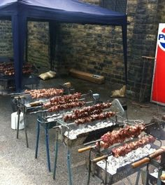 Traditional Greek Easter Rotisserie Bbq Meat Feast