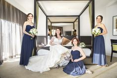 Bridal Party posing pre-ceremony in front of the fabulous four poster bed in our Royal Suite - The Royce hotel Melbourne Wedding Venue Bridal Party Poses, Fabulous Four, Hotel Meeting, Melbourne Wedding, Old World Charm, Bridesmaid Dresses, Wedding Dresses, Royce, Wedding Venues