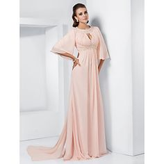 A-line Jewel Sweep/Brush Train Chiffon Evening/Prom Dress inspired by Melissa McCarthy – USD $ 117.99