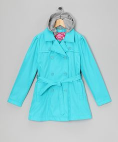 Turquoise Hooded Trench Coat - Girls
