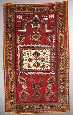1880-1915 Farcharalou Kazak prayer rug. Big format.. Exhibitor: Ron Hort, R.Franklin Hort Oriental Rug Co..