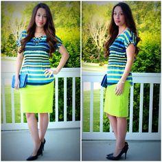 Kmart Attention blue striped blouse & Merona neon yellow pencil skirt