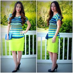 Kmart Attention blue striped blouse & Merona neon yellow pencil skirt