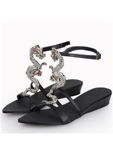 Especial Black Rhinestone Dragon Wedge Heel Sandals