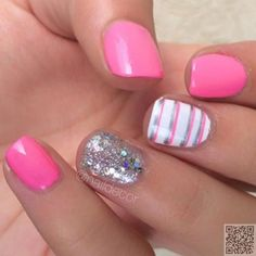 2. Pink #Stripes - Got Short #Nails? Here Are the Nail Art Designs You'll Love ... → #Nails #Ideas
