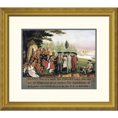 Global Gallery 'Penn's Treaty With The Indians' by Edward Hicks Framed Painting Print Size: