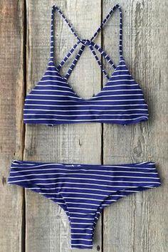 Cupshe Somewhere Fast Stripe Printing Bikini Set
